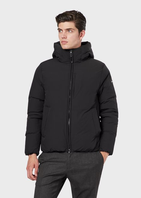 Nylon stretch down jacket with hood