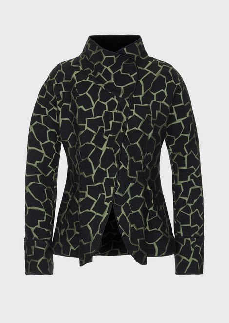 Textured jacket in jacquard fabric with giraffe motif