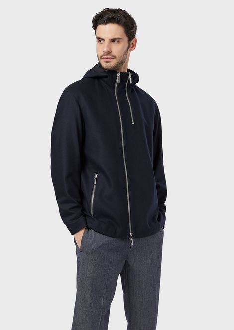 Twill blouson with hood and asymmetrical zipper