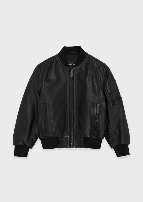 Bomber jacket in vegetable-tanned lambskin nappa leather