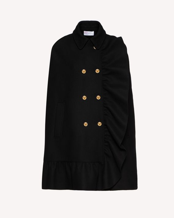 REDValentino Ruffle detail wool cashmere cape