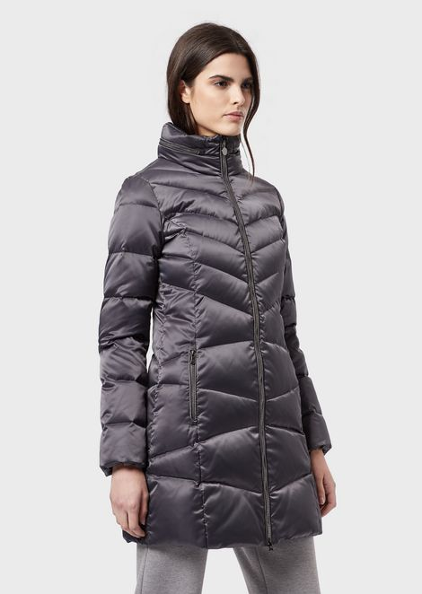 Long down jacket with full zip and removable hood