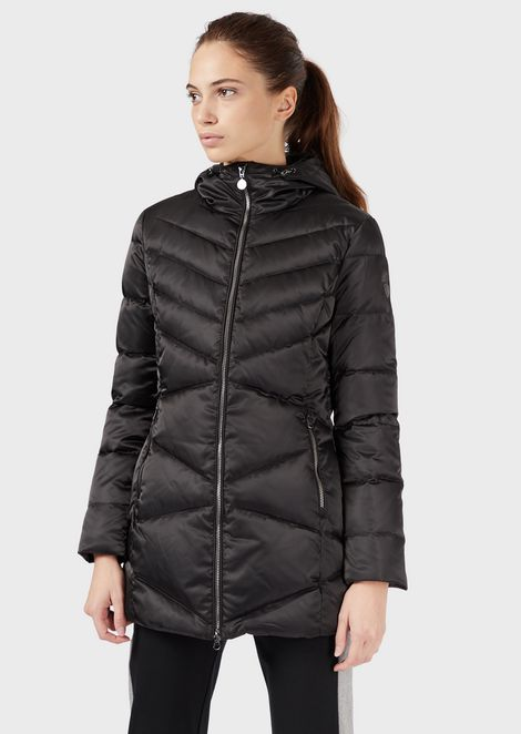 Long down jacket with hood and full zip closure
