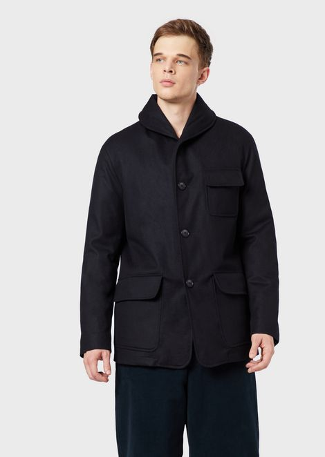 Caban coat in water-repellent cashmere with padding in cashmere flakes