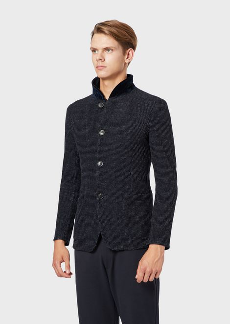 Nehru-collar jacket in curly-effect jersey
