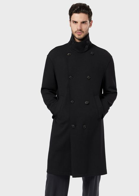 Double-breasted wool melton peacoat