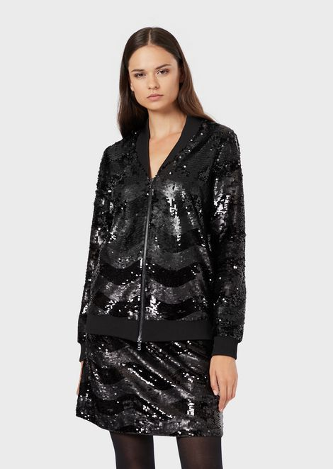 Jacket with sequin-covered zip