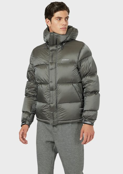 Quilted down jacket in shiny nylon