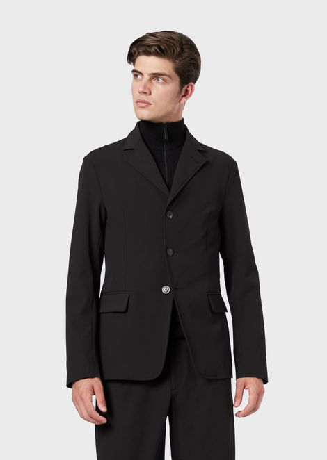 Stretch tech gabardine jacket with full-zip bib