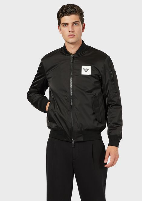 Padded bomber in nylon satin with city maxi patches