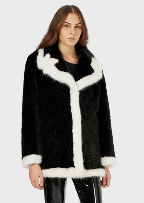 Faux-fur jacket with contrasting lapels and trim