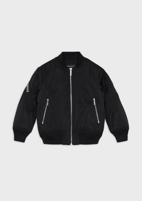 Bomber in nylon satin with logo band