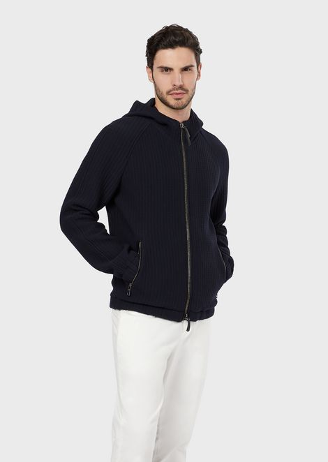 A blouson in microcheck-effect wool with a hood