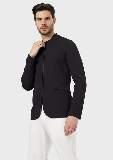 Single-breasted jacket in mesh with zip closure and velvet details