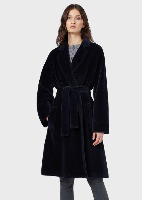 Mantel aus Alpaka mit Taillengürtel