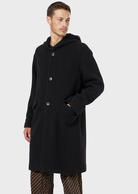 Wool fleece coat with hood