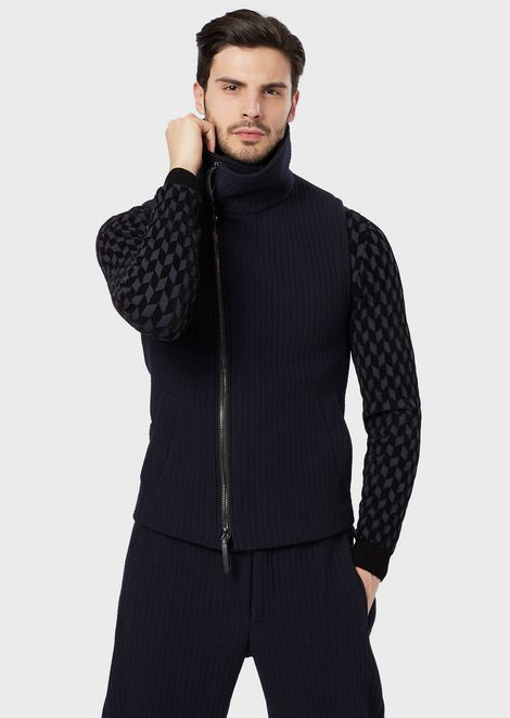 Chaleco de punto de lana acolchado