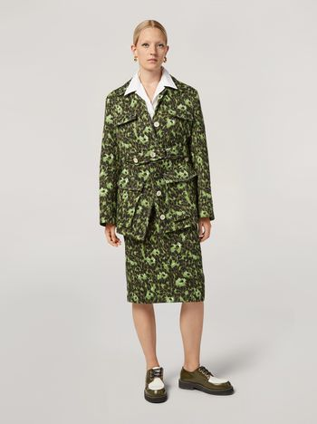 Marni Bomber jacket in cotton jacquard Wild print with removable bottom Woman f