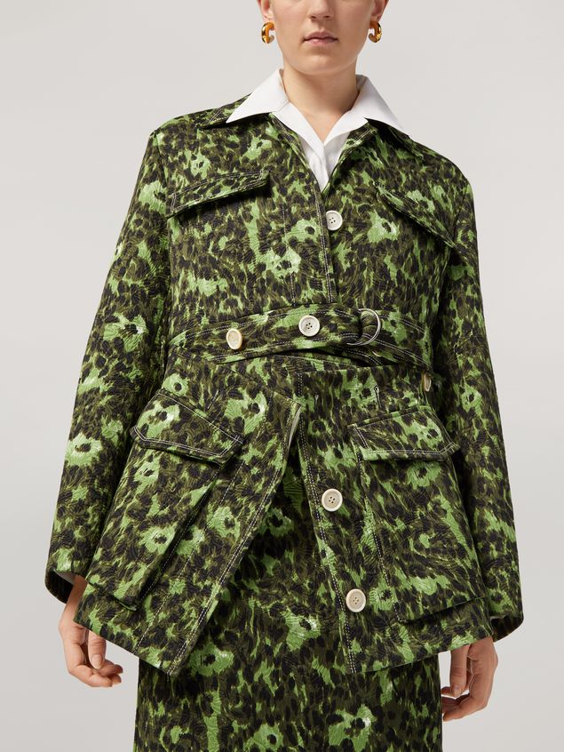 Marni Bomber jacket in cotton jacquard Wild print with removable bottom Woman - 4