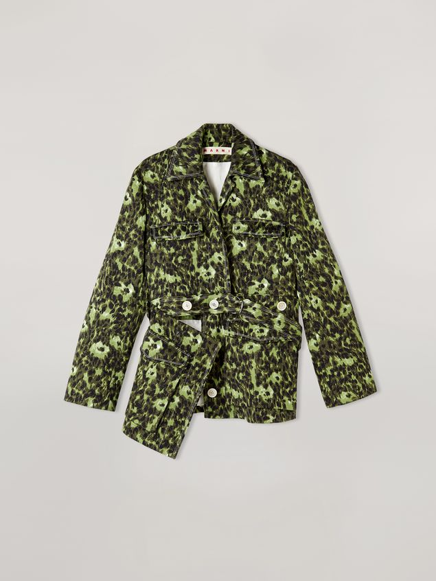Marni Bomber jacket in cotton jacquard Wild print with removable bottom Woman - 2