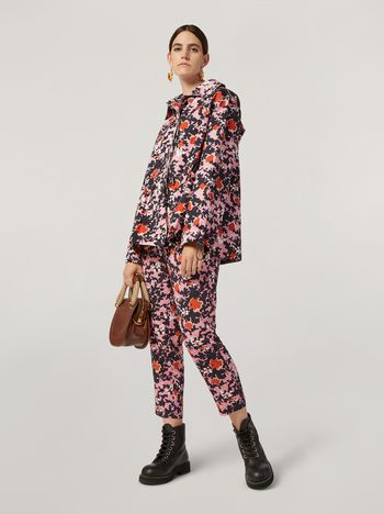 Marni Hooded bomber jacket in cotton and linen drill Buds print Woman f