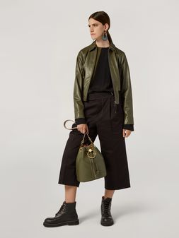Marni Bomber jacket in nappa stone lamb leather Woman