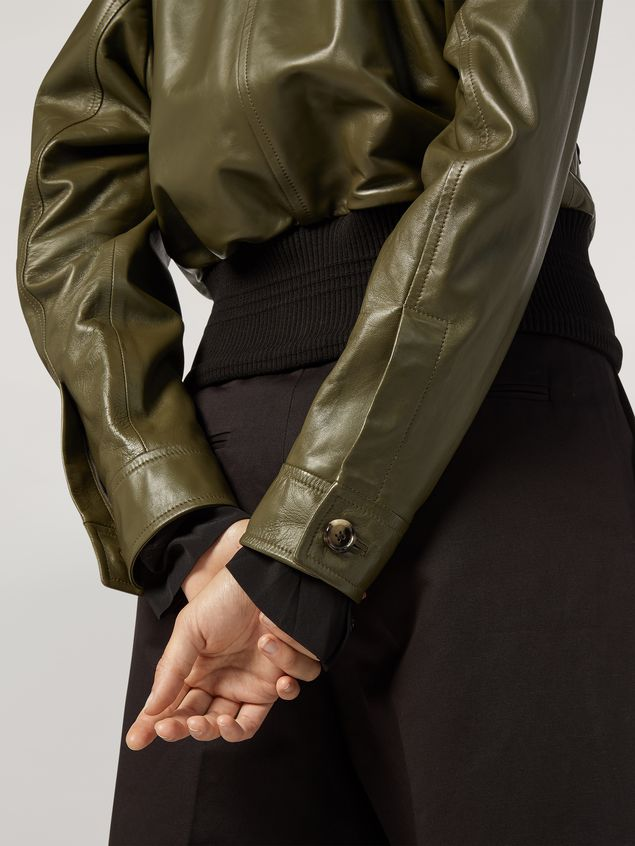 Marni Bomber jacket in nappa stone lamb leather Woman - 5