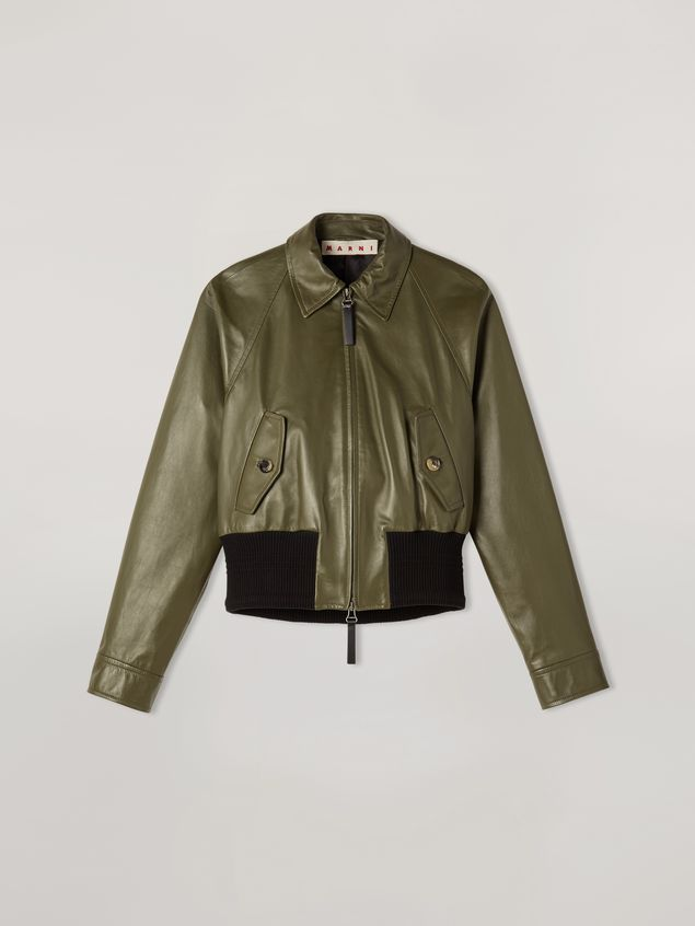 Marni Bomber jacket in nappa stone lamb leather Woman - 2