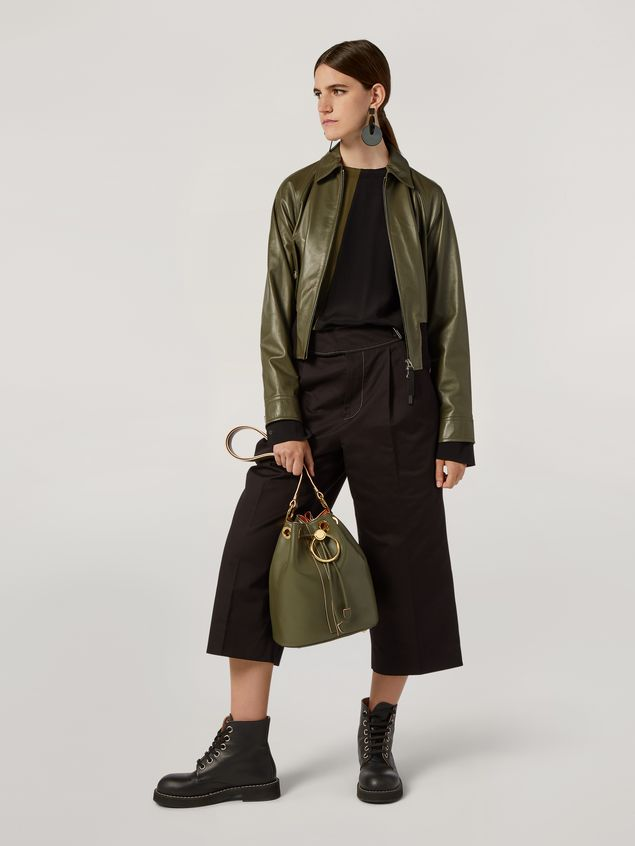 Marni Bomber jacket in nappa stone lamb leather Woman - 1
