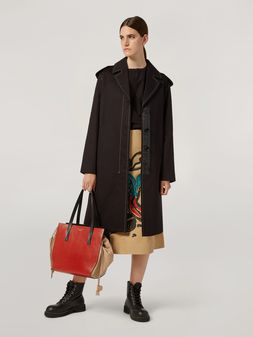 Marni Duster coat in cotton and linen drill with epaulette Woman