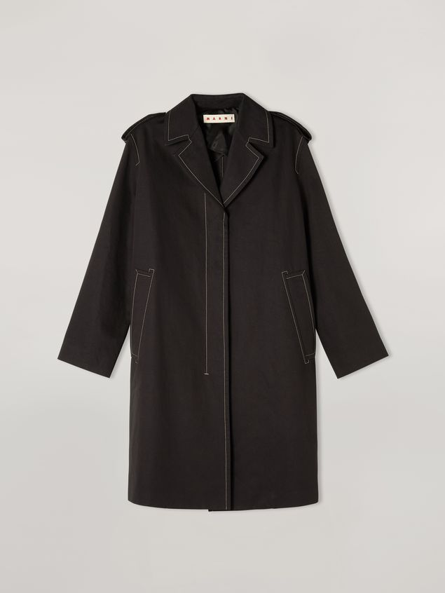 Marni Duster coat in cotton and linen drill with epaulette Woman - 2