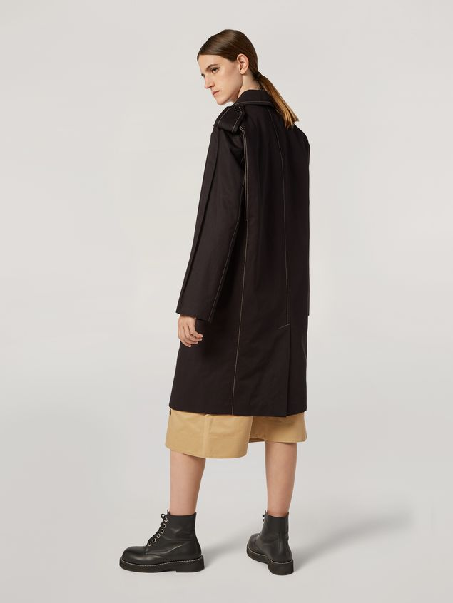Marni Duster coat in cotton and linen drill with epaulette Woman - 3