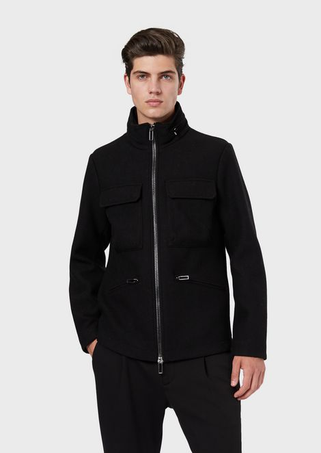 Virgin wool blend blouson with front pockets