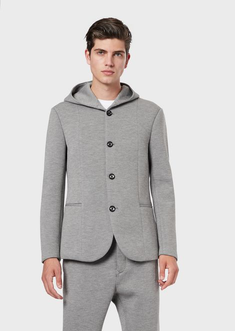 Hooded jacket in a textured weave