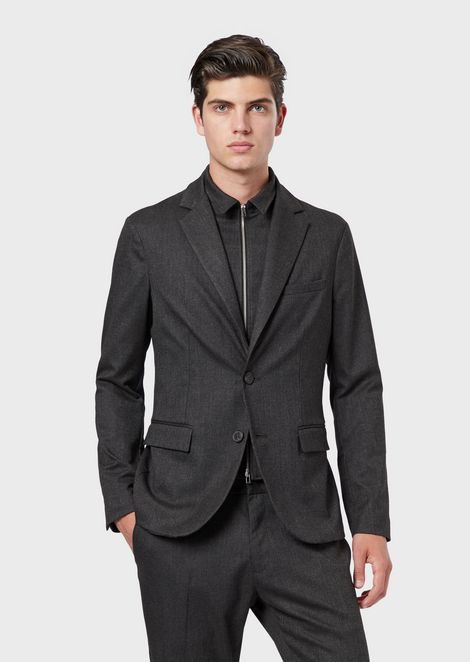 Micro-pattern jacket with dickey insert