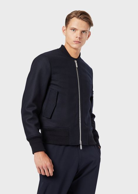 Virgin wool bomber with maxi eagle