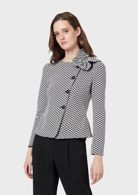 Matelassé jacquard jacket with a bow