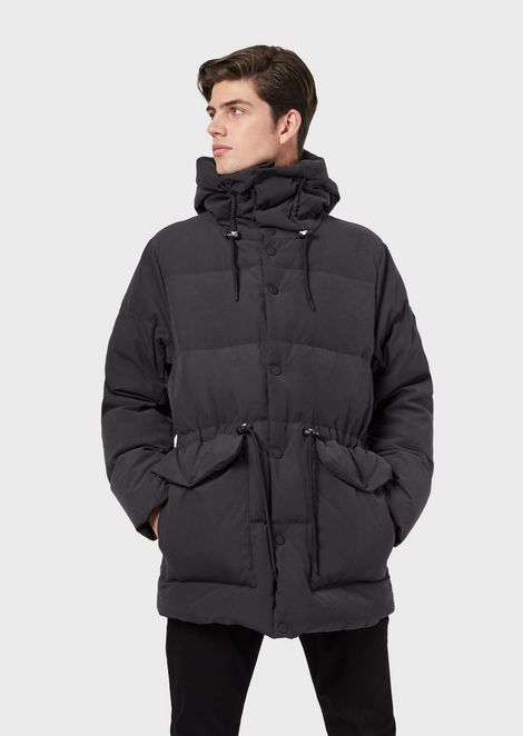 Smooth-finish nylon down jacket with igloo hood