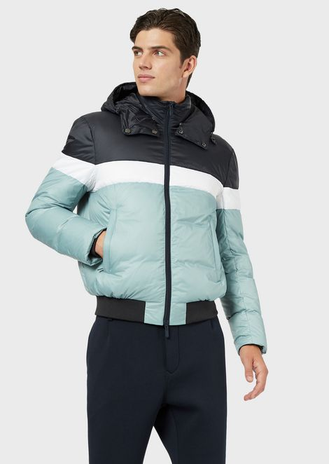 Ripstop nylon down jacket with hood