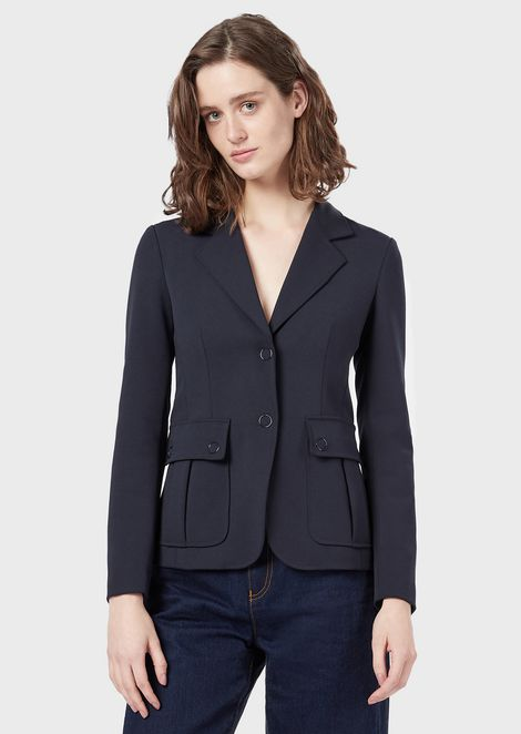 Double-crêpe, single-breasted jacket with pockets