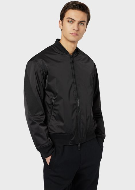 Padded bomber in nylon satin with logo band
