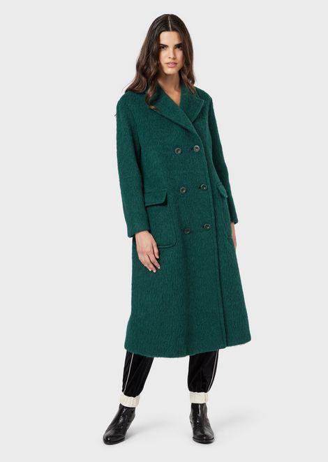 Abrigo de abotonadura doble de velur de lana con mezcla de alpaca