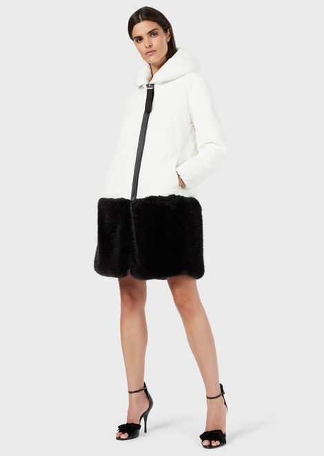 Jacket with shawl collar and faux-fur trim