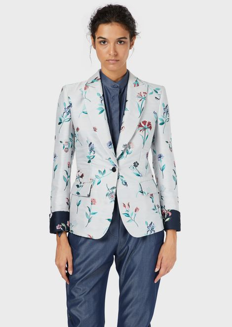 Floral jacquard single-breasted jacket