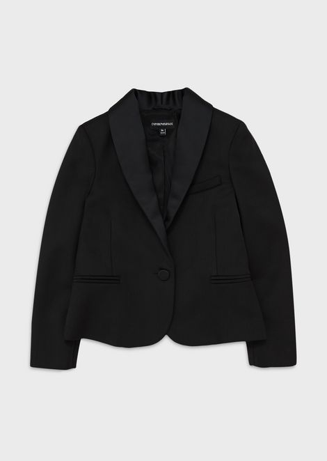 Wool-blend gabardine jacket with satin lapels