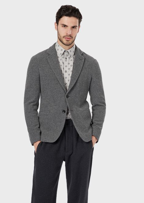 A regular-fit single-breasted jacket in a flannel-effect fabric