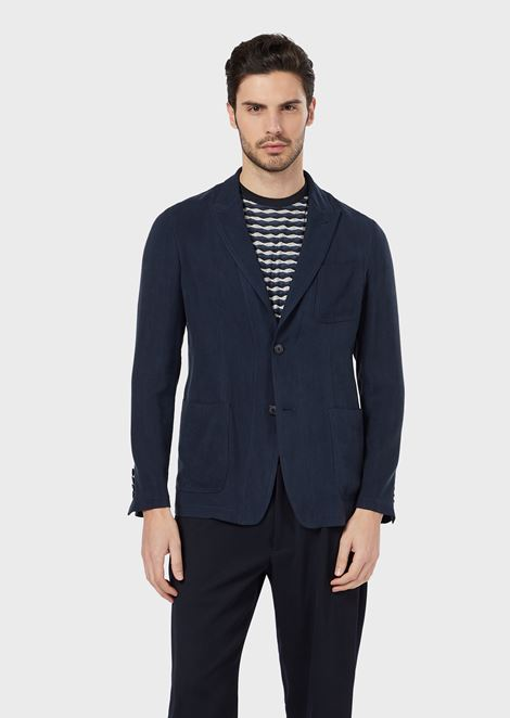 Deconstructed single-breasted jacket in a washed cupro natté