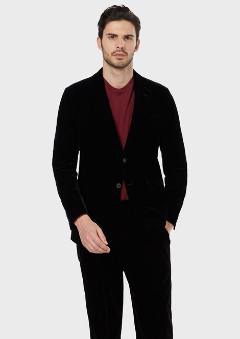 Regular-fit Linea George jacket in velvet