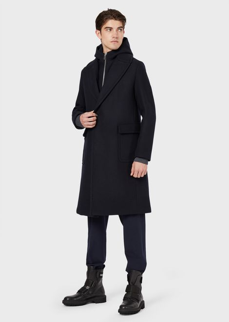 Virgin wool blend coat with bib