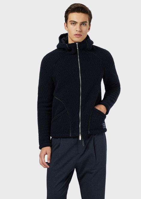 Blended-wool, shearling-style blouson